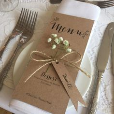 Simple but stunning Sam & Tom by Aimee Catt Photography #wedding #english #rustic #stationery #table #setting #menu #paper #recycled