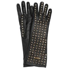 Burberry Studded Leather Gloves ($650) ❤ liked on Polyvore