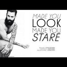 Ricki Hall #beard #tattooed model