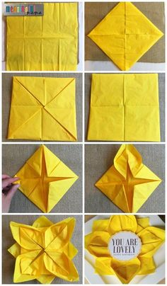Flower Paper Napkin Folding with Sunflower Table Decorations, . Flower Paper Napkin Folding with Sunflower Table Decorations, Diy Abschnitt, Napkin Folding Flower, Christmas Napkin Folding, Paper Napkin Folding, Folding Paper Napkins, How To Fold Napkins, Napkin Origami, Origami With Napkins, Paper Folding Ideas, Origami Paper
