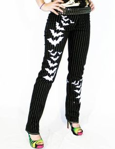 Death Kiss pinstripe and bat print cigar pants by Agoraphobix