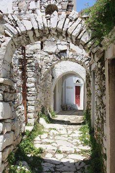 Alley arches in Apeiranthos Naxos by Panagiotis Tsiftsoglou