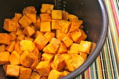 Basic Butternut Squash in the Pressure Cooker – Makes 4 Servings  Ingredients:  2 lb. chopped butternut squash  3/4 cups of water  1 medium onion, chopped (optional)  1 tablespoon each pumpkin pie spice and dried oregano  1 teaspoon each garlic powder and chili powder