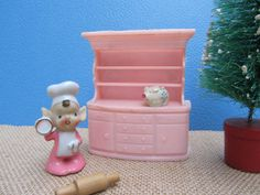 Pink Hutch Dollhouse Furniture Miniature by WillowValleyVintage