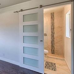 Glass Door Five Panel Glass Interior Sliding Barn Door Interior Sliding Barn Doors, Glass Barn Doors, Sliding Glass Door, Sliding Doors, Entry Doors, Front Entry, Frosted Glass Barn Door, Oak Doors, Wooden Doors