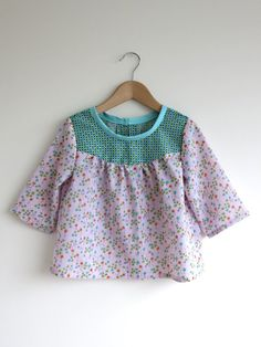 girls blouse / tunic / top in lilac floral with by SwallowsReturn