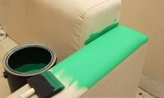 Find out how to easily paint a sofa, couch, chair or loveseat to give it new life! Painted sofas are fantastic - quick and easy! Painting Fabric Furniture, Paint Upholstery, Paint Furniture, Fabric Painting, Diy Painting, Furniture Makeover, Paint Fabric, Furniture Upholstery, Luxury Furniture