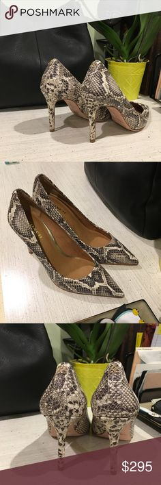 Coach Leather Snakeskin Teddie Pumps [natural] Coach Leather Snakeskin Teddie Pumps [natural] size: 5 NIB Tried on once (stepped in water spot on kitchen floor where an ice cube got away). Coach Shoes Heels