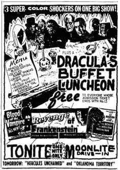 Horror Triple-Feature handbill at the MoonLite drive in theater in Brookville, Pennsylvania circa 1960