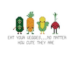 As if eating enough vegetables wasnt hard already, now they have to go and be all adorable! Stitch and hang to help remind you of the food pyramid.