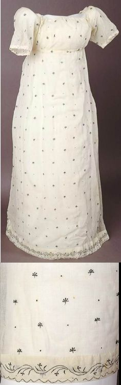 White muslin dress embroidered with metallic thread in a sprig design. Worn by Anna Jospha King. 1805 Australian Dress Registry.