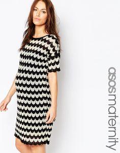 Image 1 ofASOS Maternity Knitted Dress In Stripe Chevron Crochet