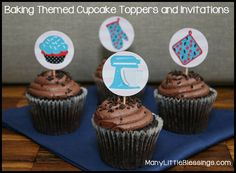 Baking Themed Cupcake Toppers and Invitations (free printables) - great for birthdays, bridal showers, or cooking/baking parties