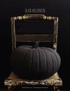 Halloween - black painted pumpkin