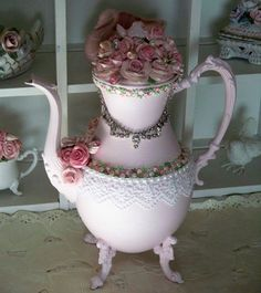 Silver tea pot painted and adorned  <3