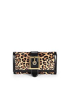 Animalier printed leather - #Gucci Lady's #Buckle Jaguar Print Clutch.