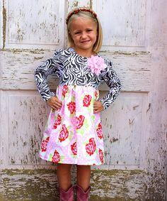 Another great find on #zulily! Pink Zebra Floral Dress - Toddler & Girls by Heather Hill #zulilyfinds
