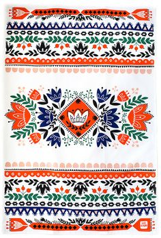 Mirdinara Kitchen is a line of tea towels designed by illustrator Dinara Mirtalipova. They are inspired by her ethnic background and folklore. Ethnic Patterns, Pretty Patterns, Textile Patterns, Color Patterns, Boho Pattern, Pattern Art, India Pattern, Design Textile, Design Floral