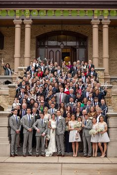 Definitely want a photo on the steps Real Wedding | Notre Dame, IN | Photo of All of the Guests