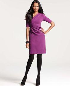 Draped Textured Knit Jacquard Dress
