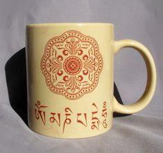 Om Ceramic Tan Coffee Mug - 12 Ounces Oz - Om Mani Padmi Hum Mandala Design. $18.00, via Etsy.