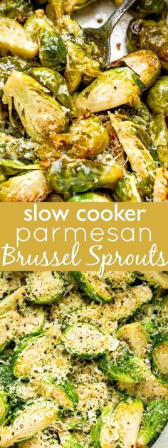 Easy Slow Cooker Parmesan Brussels Sprouts