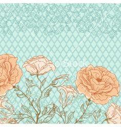 Doodle rose background vector by 0mela on VectorStock®