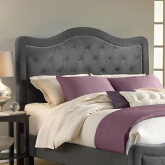Upholstered Bed in Pewter.
