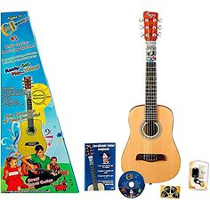 ChordBuddy Junior Guitar Learning Kit. Includes ChordBuddy Device, Child's Half Size Acoustic Guitar, Tuner and Picks. The only guitar in the world a 4-8 year old can play instantly!. NOT a toy, it's a real guitar with all the quality and features of a full size acoustic guitar. Educator approved! Teacher tested and won the parent tested seal of approval. Kids will be playing songs on their own within minutes. Included in the ChordBuddy Jr package is: a half size acoustic guitar (30 inch)...