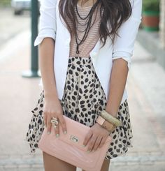 leopard skirt with pink accents and mint green nails = love!