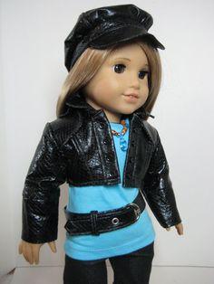 Black Pleather Newsboy Cap & Tokyo Libby Jacket by nayasdesigns via Etsy, $32.00
