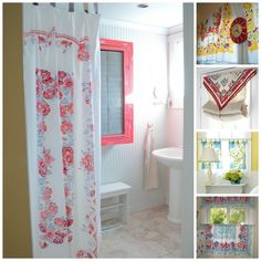 Vintage Tablecloth Curtains Tablecloth Curtains, Diy Curtains, Bathroom Curtains, Shabby Chic Shower Curtain, Regal Design, Hd Design, Shabby Cottage, Cottage Style, Farmhouse Style