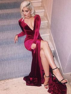 Sexy Slit Mermaid Prom Dresses, Long Sleeves Prom Gown,Wine Red Prom Dress on Storenvy Red Prom Dresses 2017, Open Back Prom Dresses, V Neck Prom Dresses, Prom Dresses Long With Sleeves, Long Prom Gowns, Formal Evening Dresses, Sexy Dresses, Woman Dresses, Party Dresses