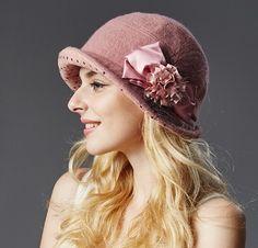 Womens flower bow bucket hat for winter wool bowler hats