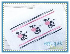 Faux Smocked Barnyard Cow Embroidery Design $.99 for limited time!!