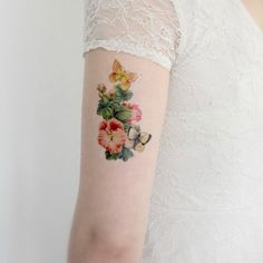 Temporary Tattoo Butterfly Plant Vintage butterfly by Siideways