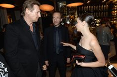 Director/actor Ralph Fiennes actor Liam Neeson and actress Felicity Jones at the Grey Goose vodka dinner for 'The Invisible Woman' during the 2013...