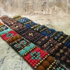 """""""Woven Arcadia"""" class at Lotus Beads and Jewelry.  Woven on the Jewel Loom by Julianna Hudgins."""