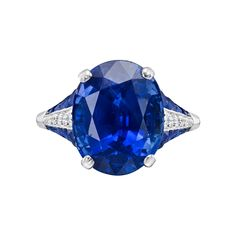 Estate Betteridge Collection Oval-Shaped Sapphire & Diamond Ring