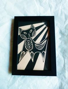 Cat Art Print Framed  The Hot Spot  MidCentury by Felinethropy