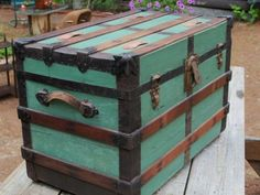 Antique Wood Steamer Trunk Blanket Box Quilt Chest Coffee Sofa Shabby Table Chic