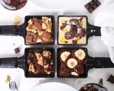 Brunch Recipes Raclette with a difference - with our chocolate pans! Fondue Raclette, Raclette Party, Raclette Ideas, Appetizer Recipes, Snack Recipes, Dessert Recipes, Winter Desserts, Snacks Für Party, Recipe For 4