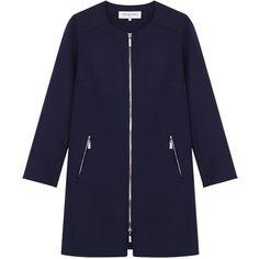 Gerard Darel Madison Coat, Midnight (£375) ❤ liked on Polyvore featuring outerwear, coats, coats & jackets, jackets, gerard darel coat, print coat, leather-sleeve coats, long sleeve coat and zip coat