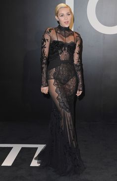 Miley Cyrus at the Tom Ford fall/winter 2015 Womenswear Collection Presentation on Feb. 20.   - ELLE.com
