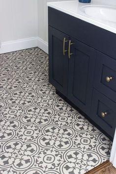 Luxury vinyl that imitates the look of encaustic tile by Mannington Floors.