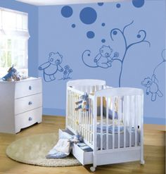 Wander through our colorful blue baby room. Get more decorating ideas at http://www.CreativeBabyBedding.com