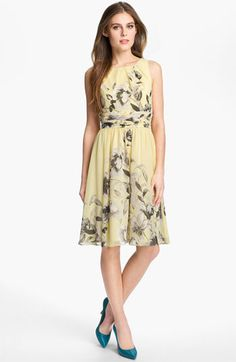 Eliza J Print Fit and Flare Chiffon Dress