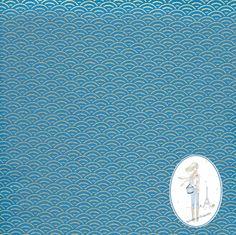 Tissu japonais traditionnel motifs éventail or sur fond turquoise 343 : Tissus à thème par sylvette-mercerie