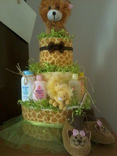 Safari theme diaper cake