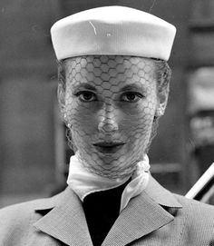 Mary Jane Russell, 1950. Love this face net.